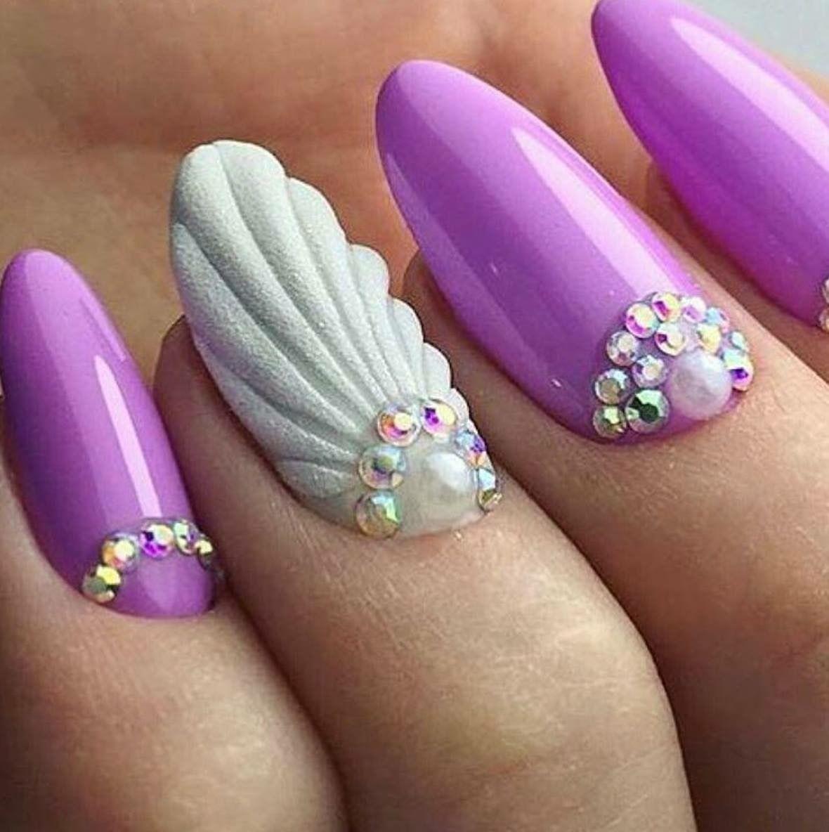 Mermaid Spring Nails Nail Ideas Nails Seashell Nails Mermaid Nails