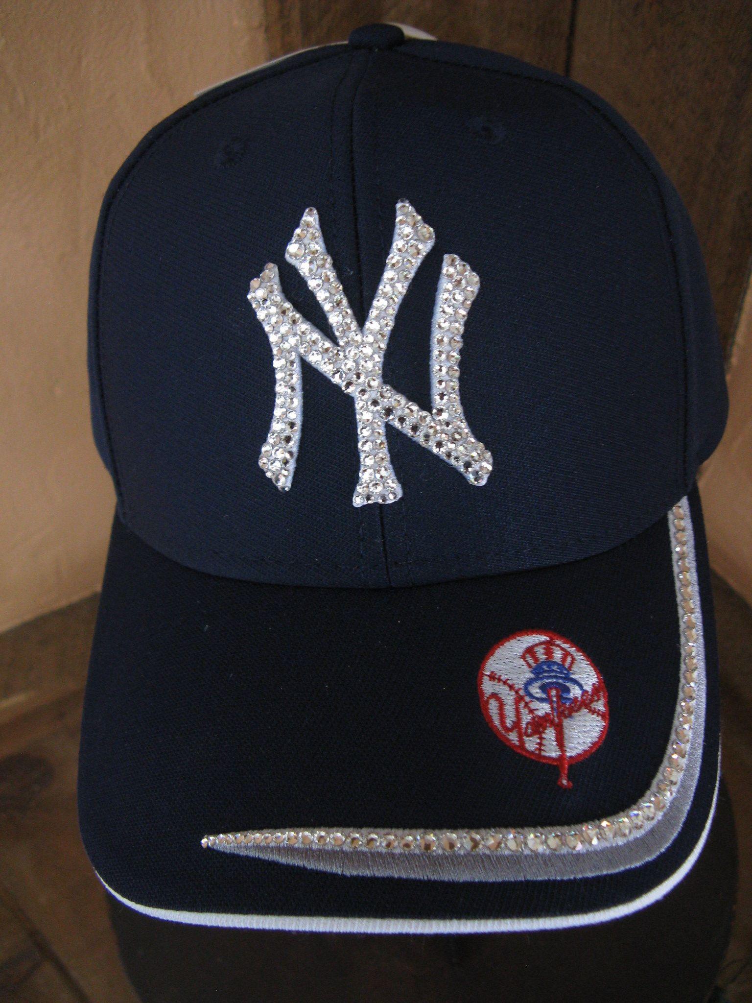 Swarovski Yankees Cap New York Baseball Hat Sports Sparkly Chic Navy Blue With Stripe Red Baseball And Bat Emblem By Loveywea Baseball Hats Reds Baseball Cap