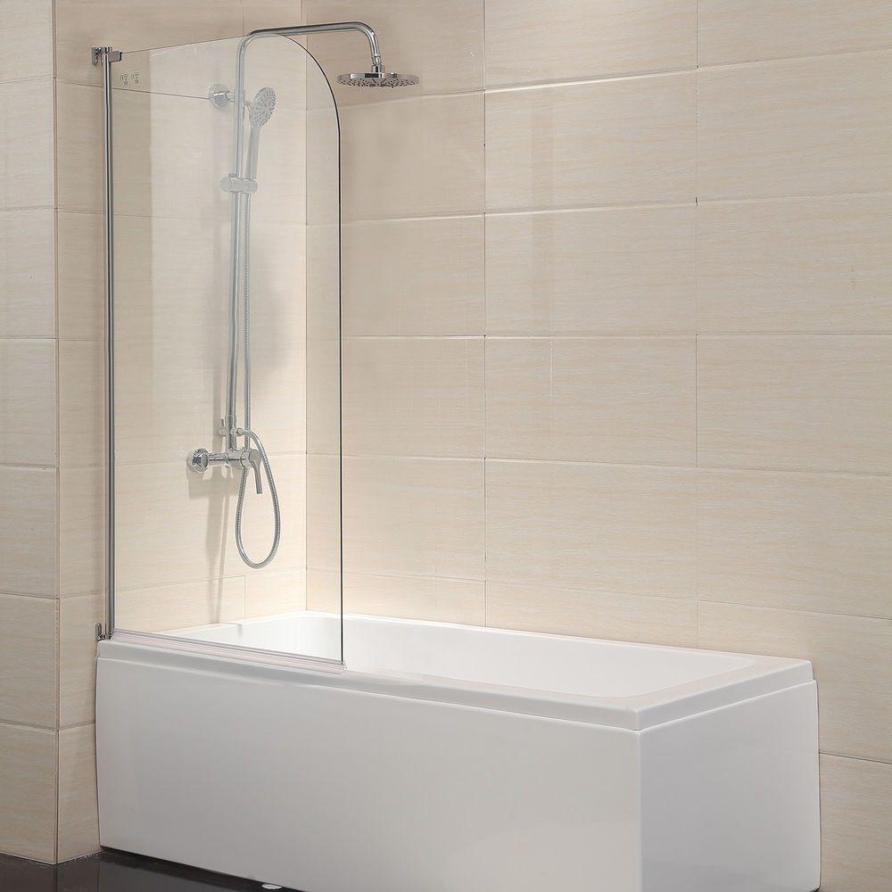 55 X31 Bath Shower Door 1 4 Clear Glass Pivot Radius Frameless Chrome Finish 713803618081 Ebay Shower Doors Bathtub Shower Doors Bath Shower Doors