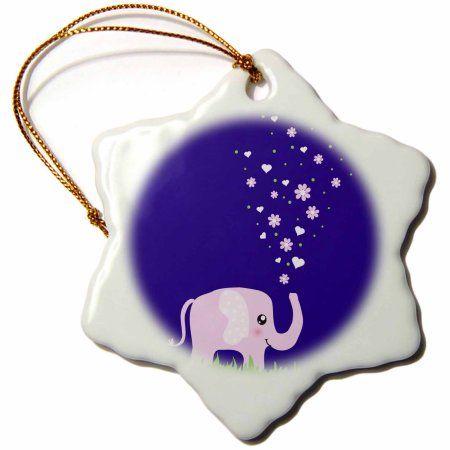 3dRose Cute pink elephant showering with flowers and hearts - kawaii purple girly cartoon sweet animal, Snowflake Ornament, Porcelain, 3-inch