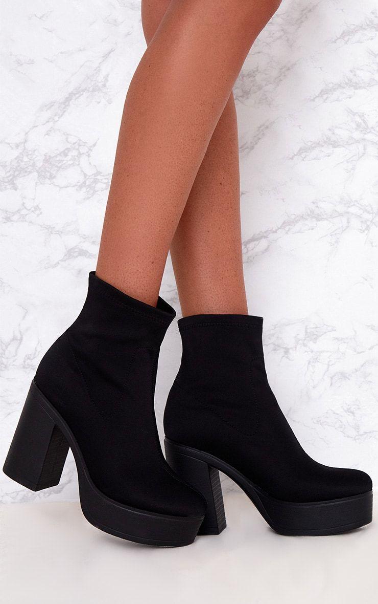 Black Platform Sock Boots   Boots