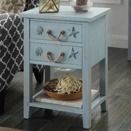 Photo of Seashell Detail End Table with Storage