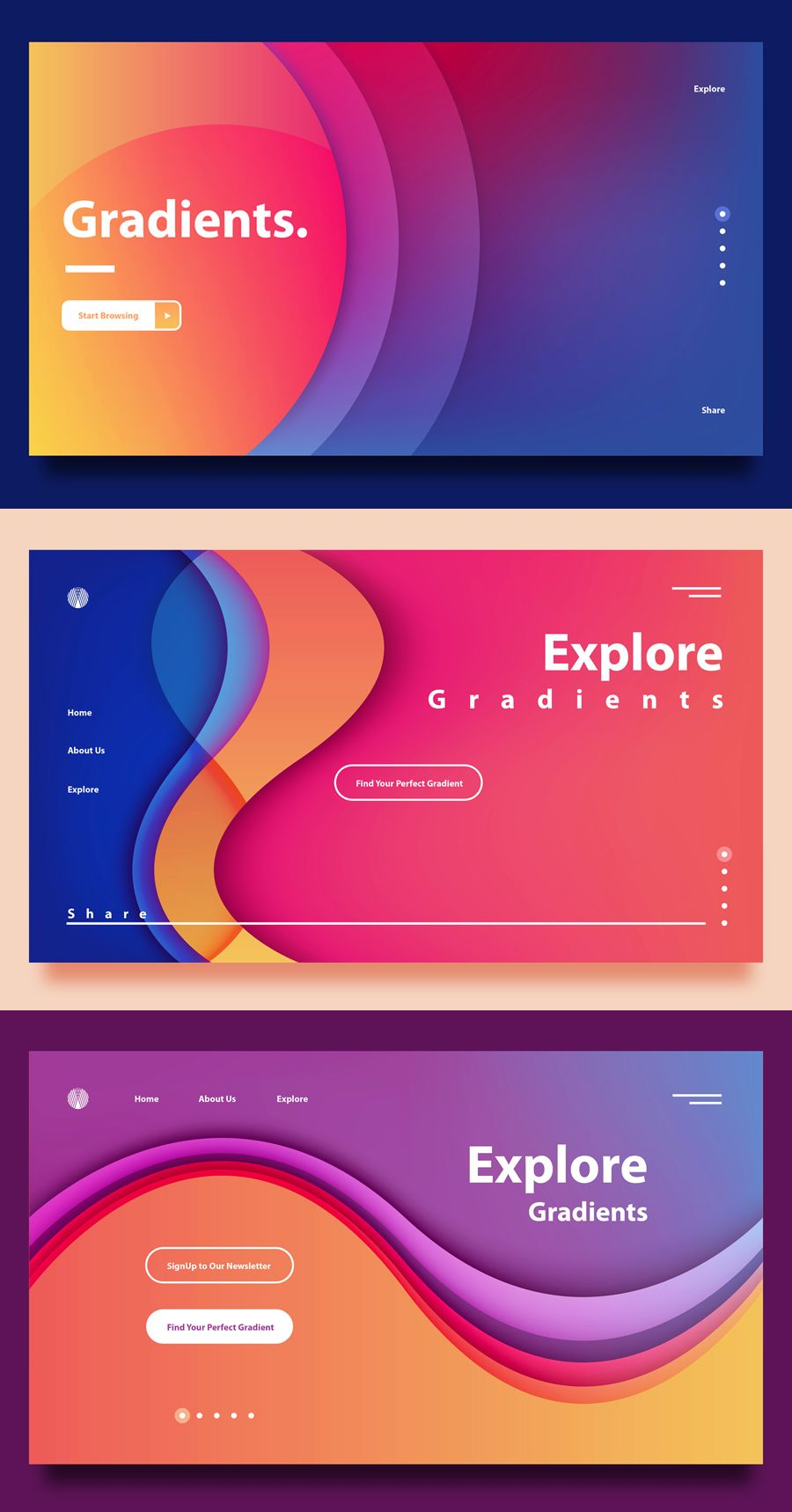Landing Page Gradients -Gradient Backgrounds for Web Header Design