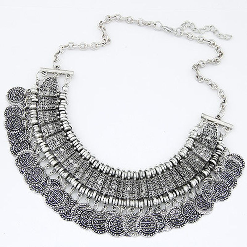 b1f134aa6112 Vintage Maxi Statement Necklaces   Pendants Bohemian Coin Necklace Women  2017 Female Choker Collier Femme Boho Jewelry Bijoux-in Choker Necklaces  from ...