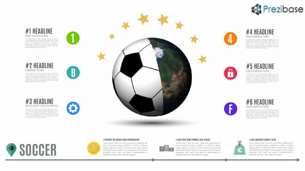 football and soccer 3d earth world prezi presentation template, Powerpoint templates