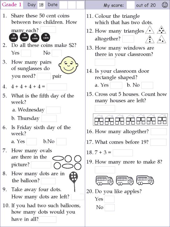 Mental Math Grade 1 Day 18 Mental Math Mental Maths Worksheets Math Olympiad