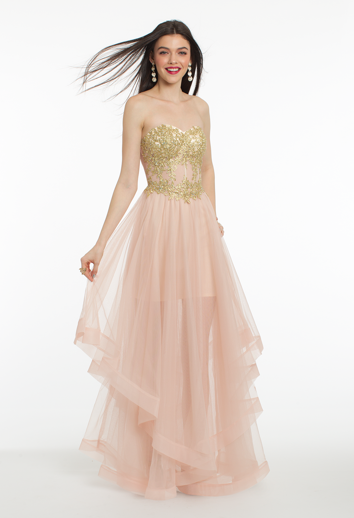 This ethereal evening gown is an absolute dream with its strapless