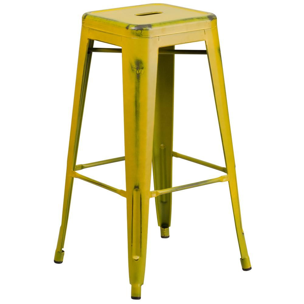 Flash Furniture 30 In Distressed Yellow Bar Stool Etbt350330yl