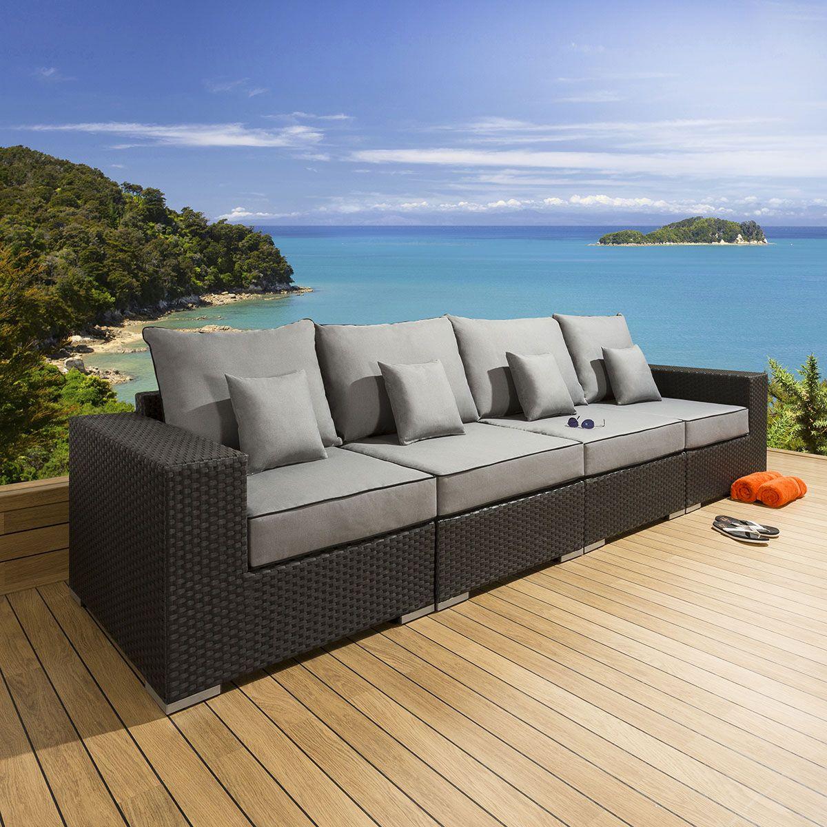 Quatropi Large Outdoor Garden 7 Seater Sofa Black Rattan Grey S7