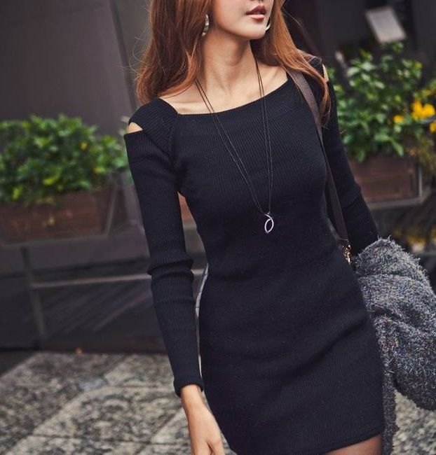 Stylish Square Neck Shoulder Hollow Out Solid Color Long Sleeve Slimming Ribbed Cotton Dress For Women (DEEP GRAY,ONE SIZE) | Sammydress.com