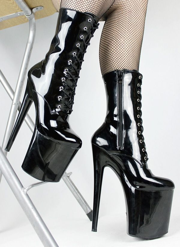 bcec1d7b18eabc UPHEEL hot sale 20cm Spike Heel fetish sexy Mid-calf extreme high heels  boots with. 1969 LEDER HOHE PLATEAU DAMEN PUMPS OB31 SCHWARZ TOLLE SCHUHE  ...
