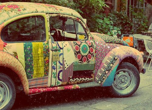 Ladies... do you need a quilting project ?  How about a patchwork fabric covered VW bug
