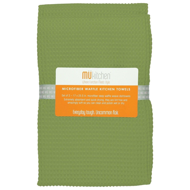 Mukitchen peridot green waffle microfiber dishcloth set of