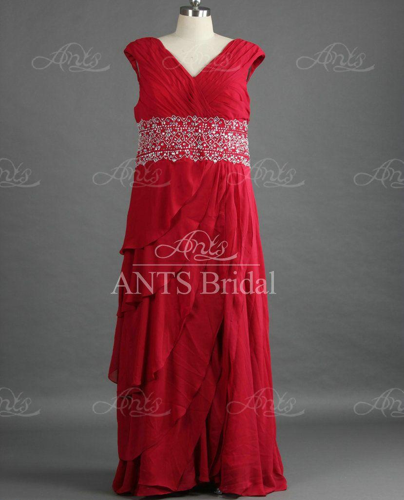 Click to buy ucuc re designer chiffon dark red v neck long plus