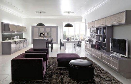 Risultati immagini per arredare ambiente unico sala e cucina ...