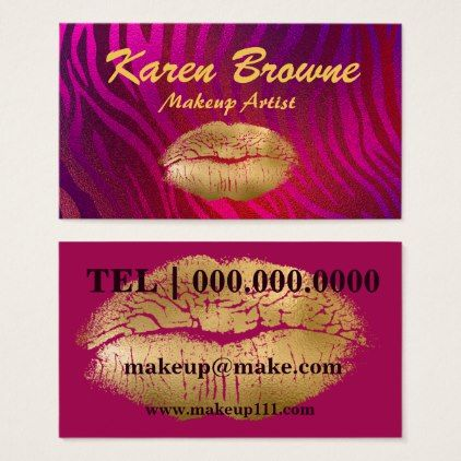 Pink and Gold Makeup Artist Business Card - makeup artist gifts