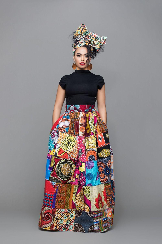 African Print Patchwork Freeda Maxi Skirt