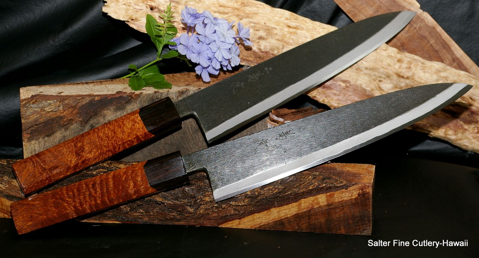 Pair Of Hand Forged Chef Knives With 10 5 Blades Anese Shirogami Carbon Steel Curly Kiawe Wood Handles Custom Requests Welcome Salter Fine Cutlery