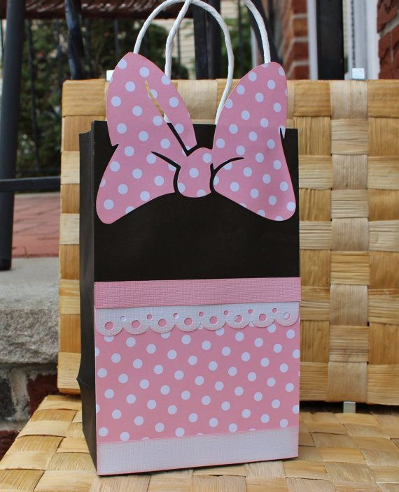 minnie mouse goodie bag candy favor bag by paperlettedesigns 28 00