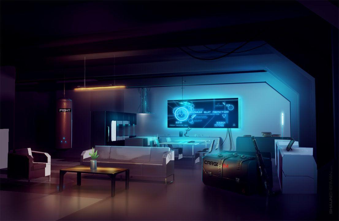 Near Future Interior SciFi Concept Art By ShaunSherman