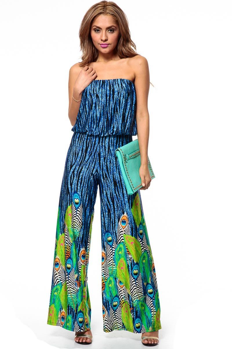 Strapless Draped Peacock Jumpsuit @ Cicihot Top Shirt Clothing ...