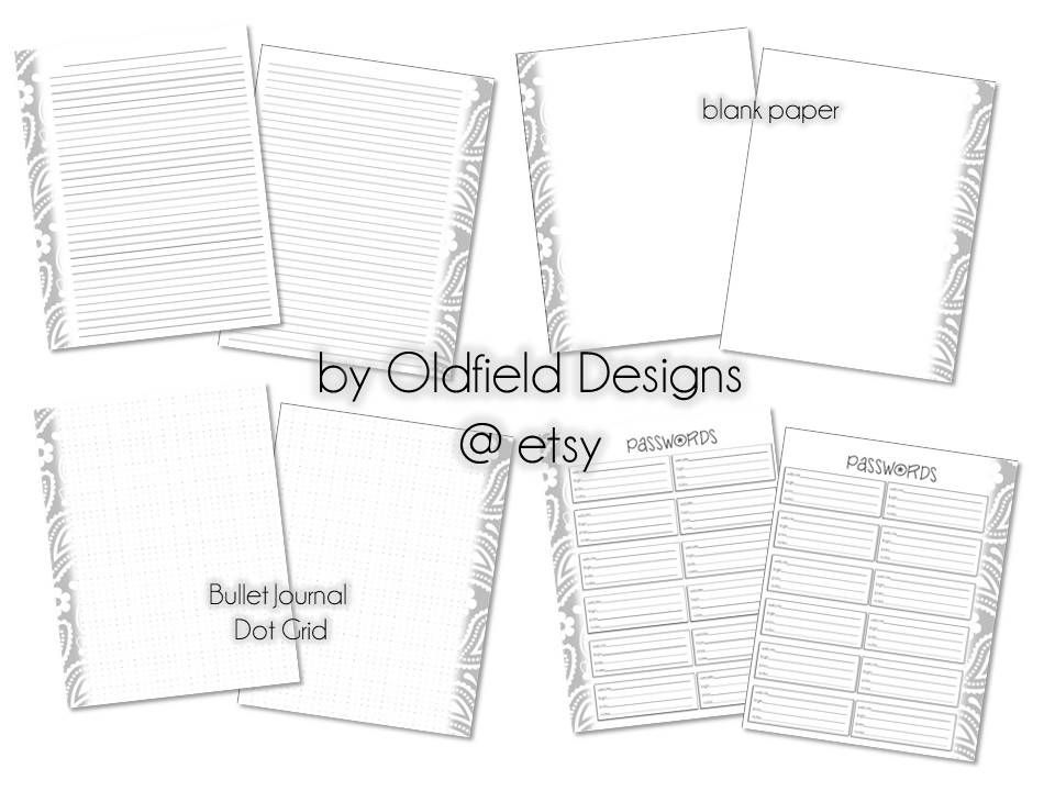 85x11 Printable Planner Pages - Bullet Journal Dot Matrix Grid - lined paper print out