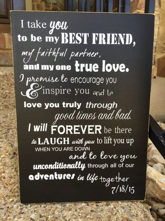 I Take You Wedding Vows Wood Anniversary Signage Sixth Anniversay Gift Personalized Modern 6th