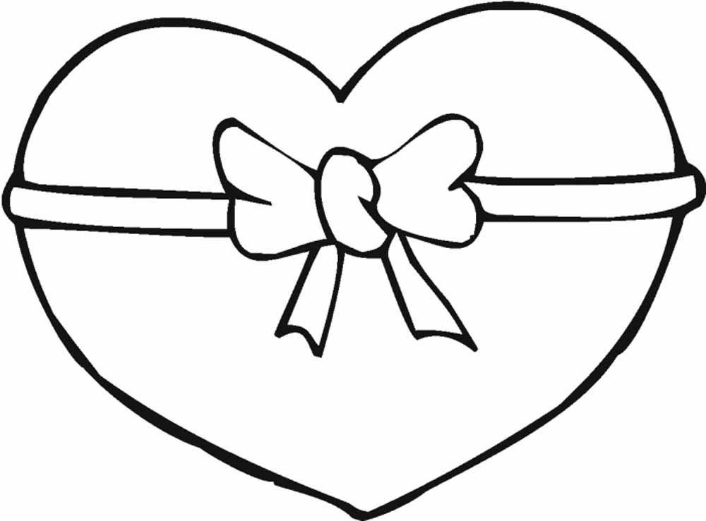 corazon con moño del 14 de febrero | Imagen para colorear ...