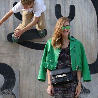 Le perfecto vert, look de la Fashion Week printemps été 2014