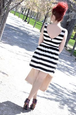 Spring Fashion   Red hair   Ginger   Black and White Stripes   Blush   Purse   Floral   Pale   Beehive   Big Hair   Bun   Top Knot   Sundress   V Back   Pumps