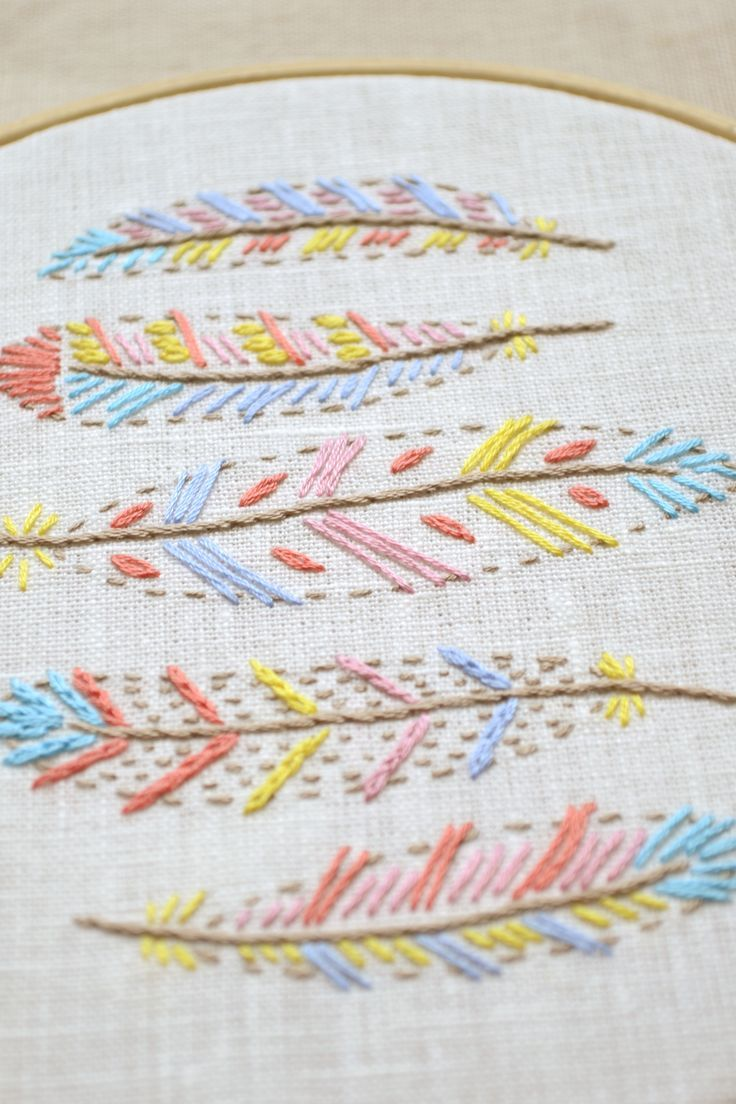 Hand embroidery patterns embroidery pattern pdf feather embroidery