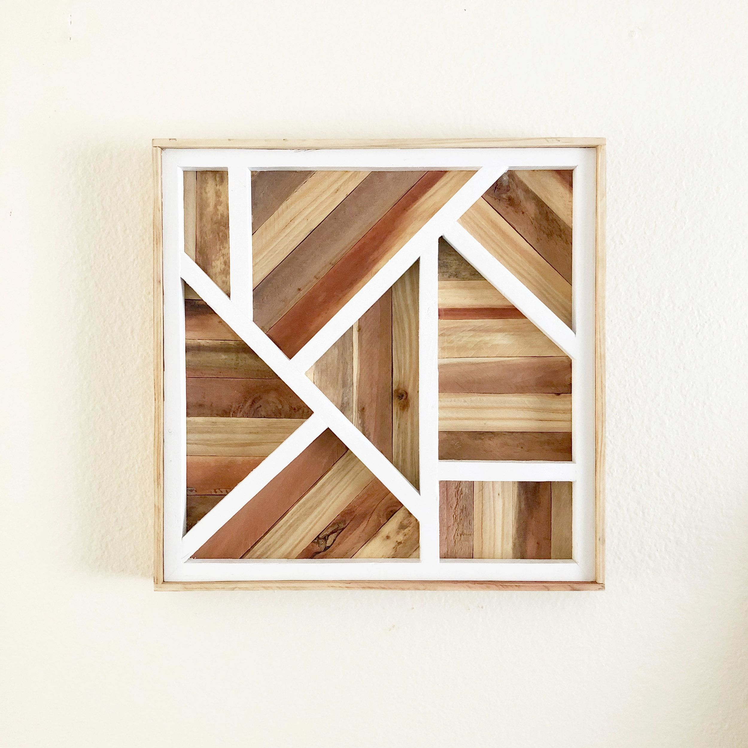 Art Deco Inspired Rustic Lath Wood Artwork White Tipsy Oak Wood Wall Art Wood Art Rustic Wall Art