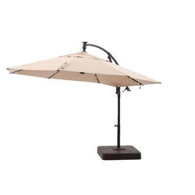 Hampton Bay 11 ft Offset LED Patio Umbrella in Tan YJAF052TAN at
