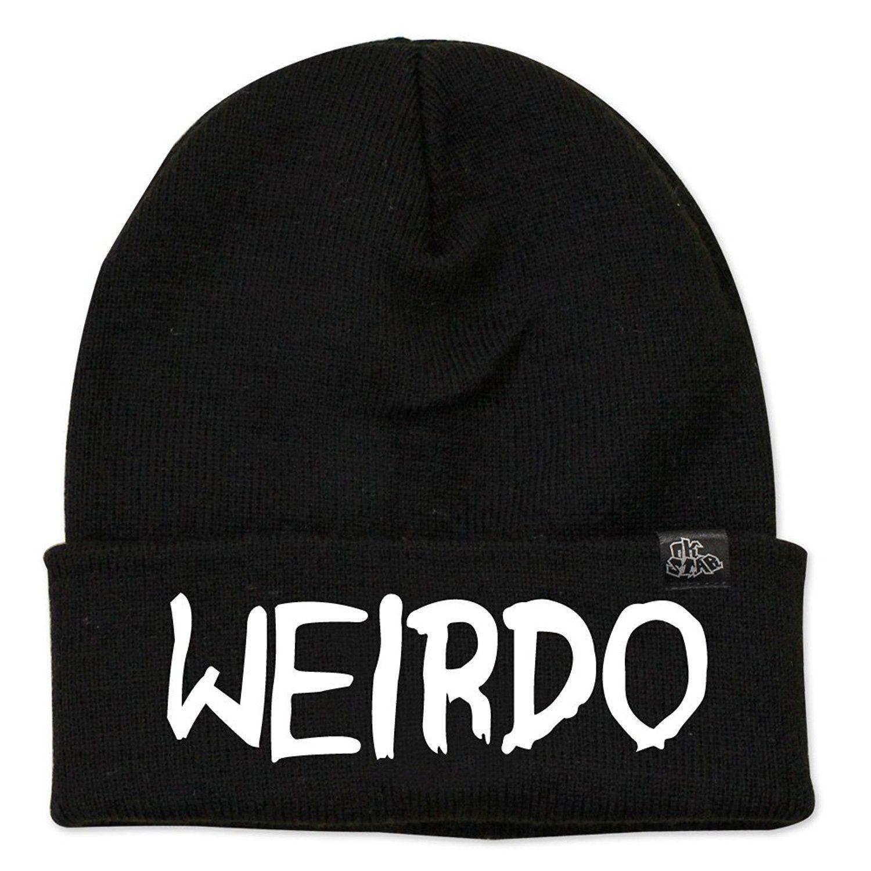 Amazon.com  Weirdo Beanie Embroidered Text Knit Beanie Hat (BLACK)  Clothing 3da16f7fb258