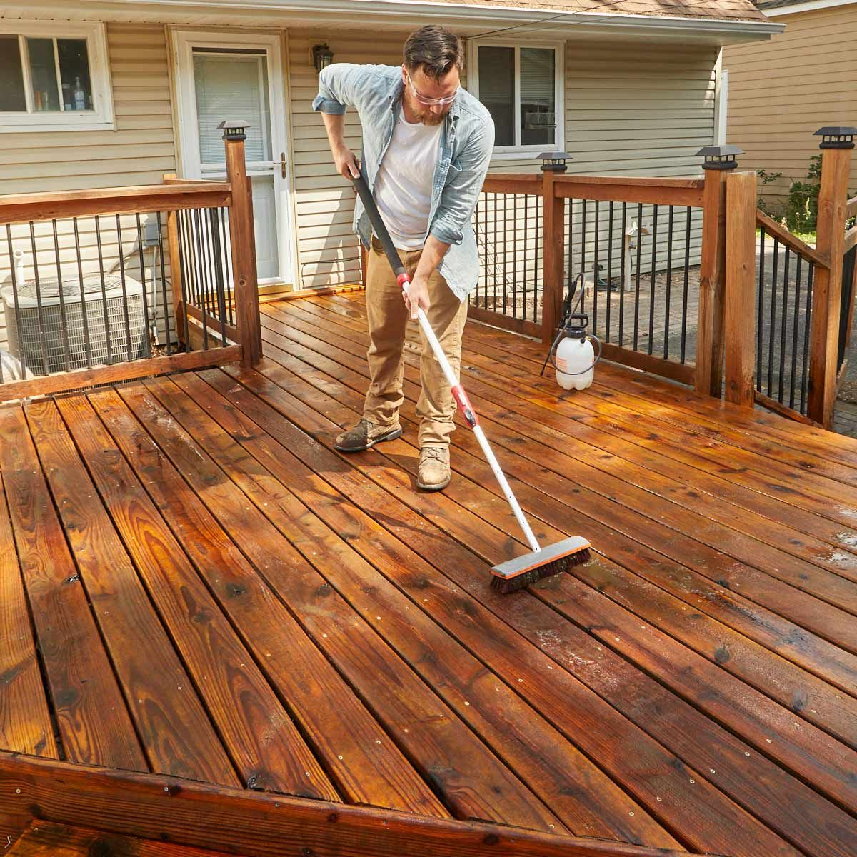 How to refinish a deck with acrylicbased deck stain
