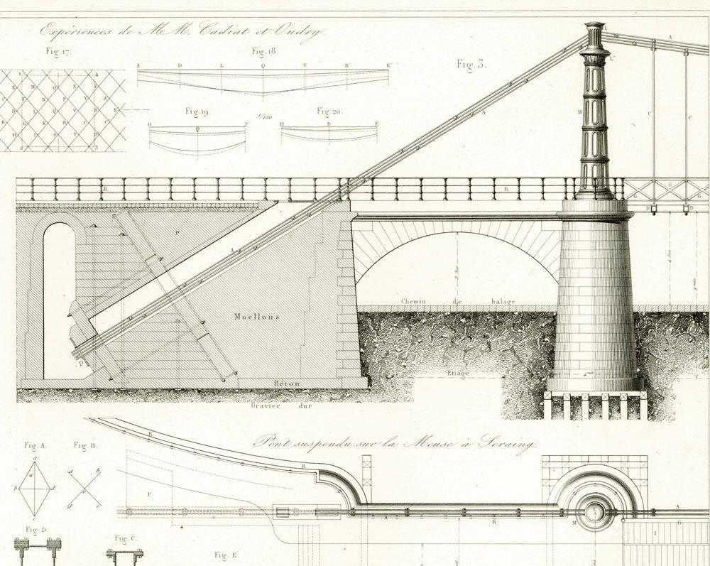 1853 Antique Iron Bridge Print Bridge Construction