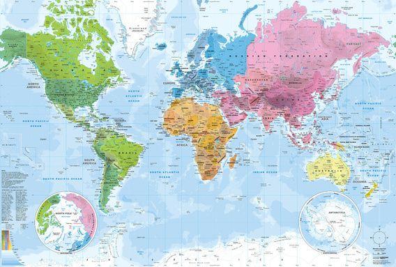 Weltkarte Kontinente Und Ozeane Poster Mapom Geoatlas