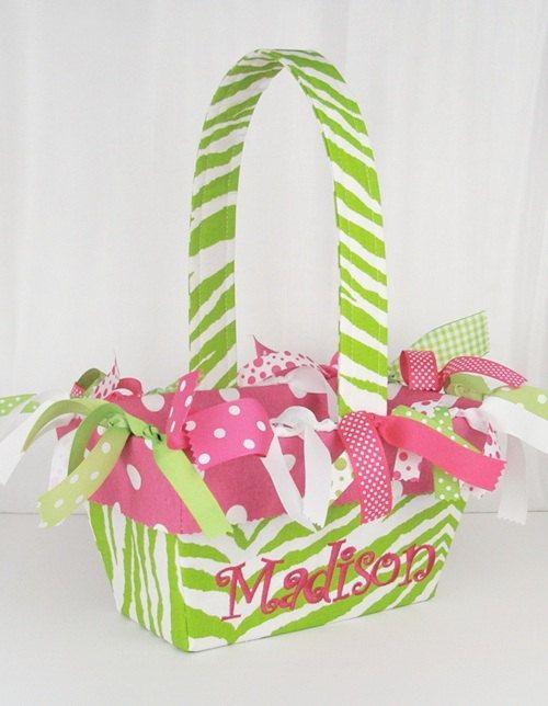 Lime Green Zebra/ Hot Pink Polka Dot Personalized Easter Basket. $35.00, via Etsy.