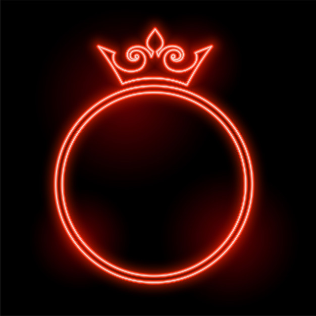 Free Vector Neon Style Crown Frame With Text Space Design In 2020 Vector Free Crown Frames Space Design