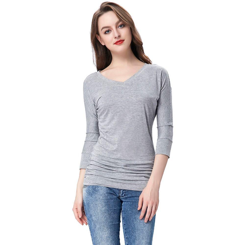 Female Tshirt Fashion Women  Sleeve Tshirts Casual Solid Grey