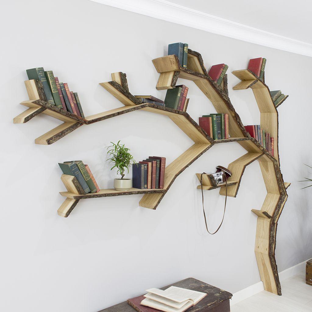 The windswept oak tree shelf bark edged pinterest for Corner tree bookcase