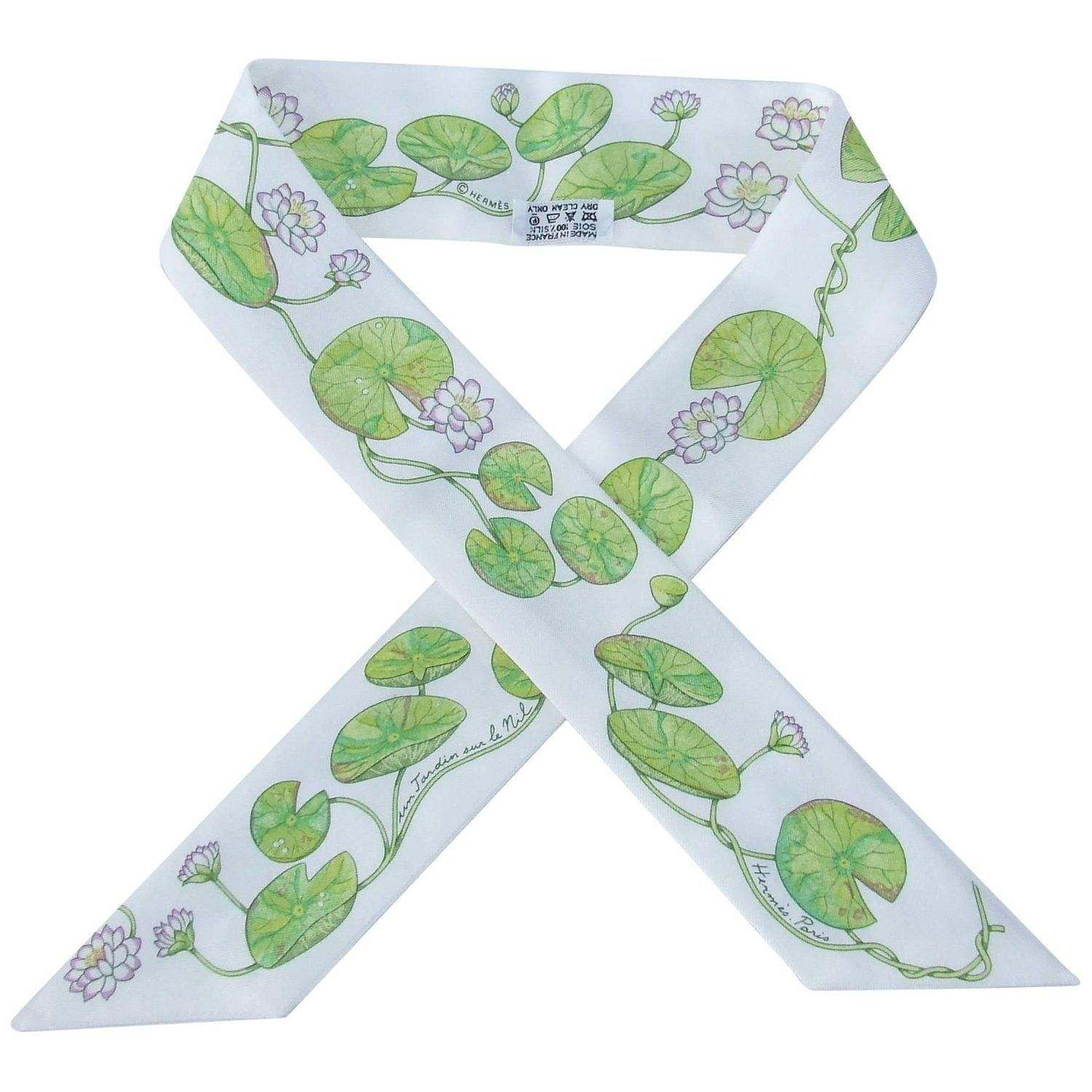 Hermes Silk Scarf Twilly Un Jardin Sur Le Nil Water Lily For Kelly