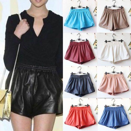 Fashion Sexy Women Elastic Waist Loose Faux Leather Shiny Hot Mini Shorts Pant