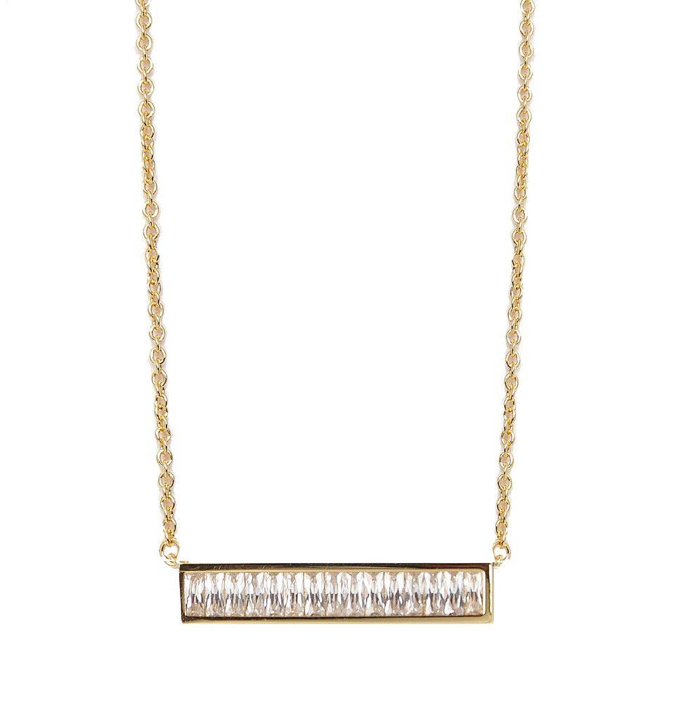 Baguette Bar Necklace Gold – Rachael Ryen Jewelry