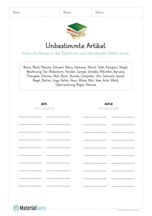 ein kostenloses arbeitsblatt zum thema artikel auf dem die sch ler nomen den unbestimmten. Black Bedroom Furniture Sets. Home Design Ideas