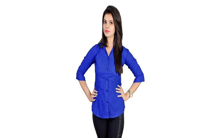 Buy Jazzy Ben BLUE Cotton Formal Wear Shirt for Women  #Women #shirt #FormalWear