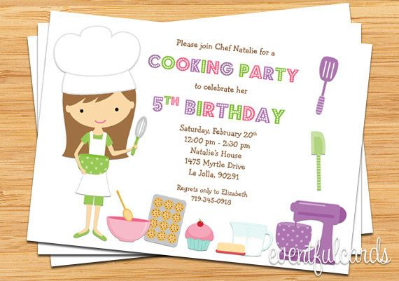kids baking birthday party invitation printable in 2018 party