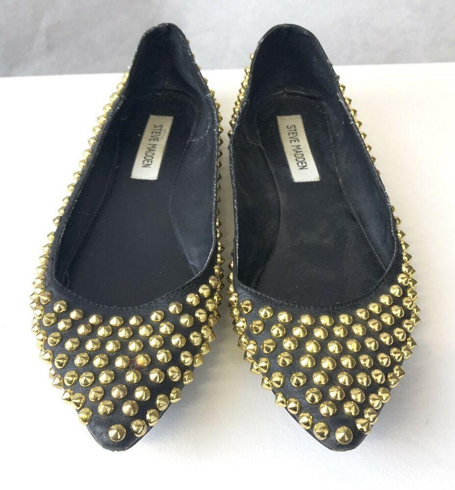 60763642f Steve Madden Black Gold Studded Flat Shoes UK 6.5 US 8.5