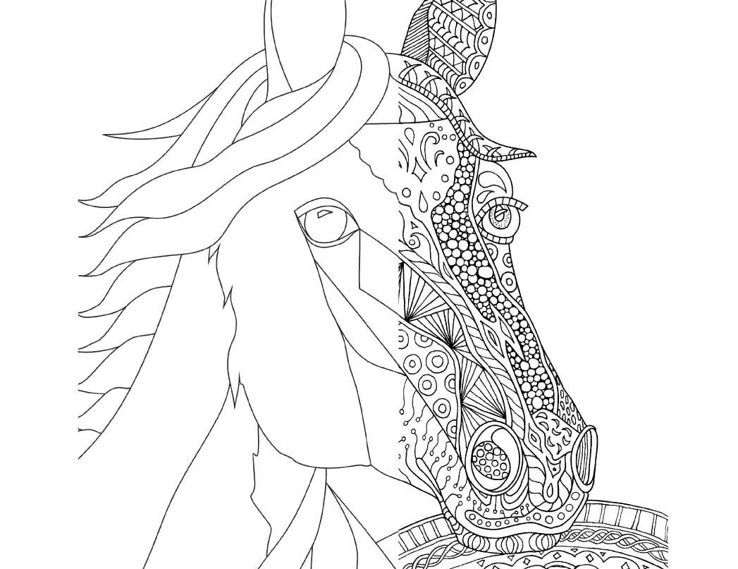 Zentangle Horse Coloring Page for Adults, plus Bonus Easy Horse ...