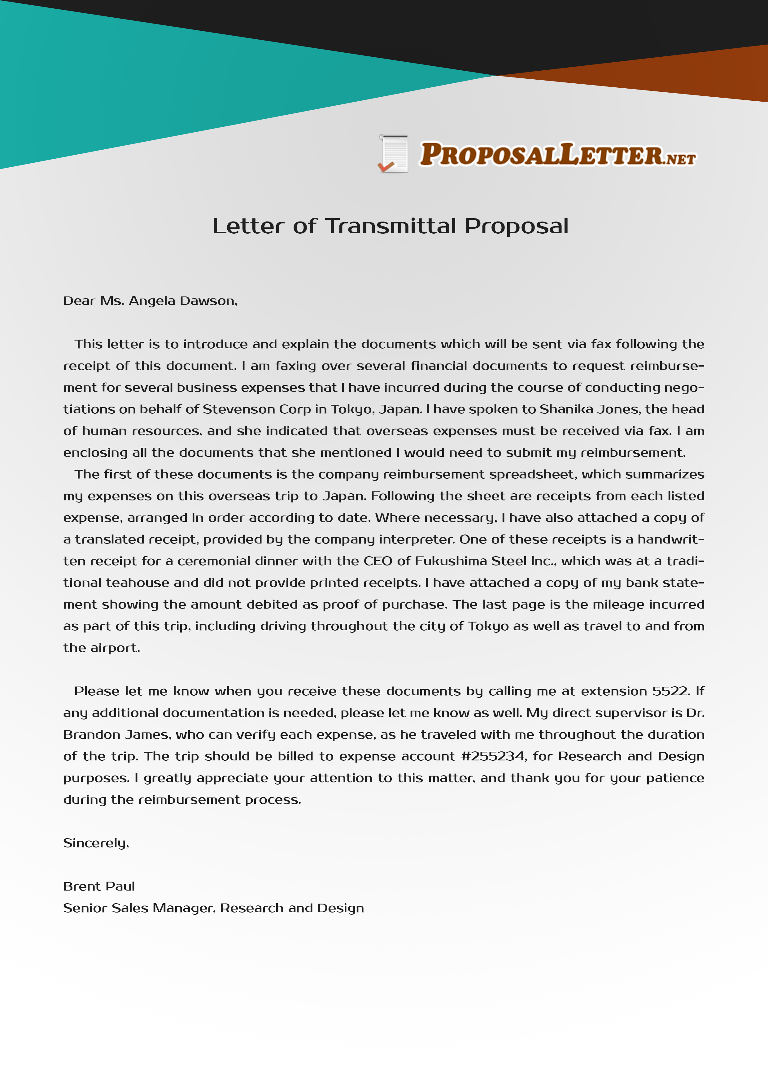 Get yout letter of transmittal proposal to be impeccable by – Sample of a Transmittal Letter